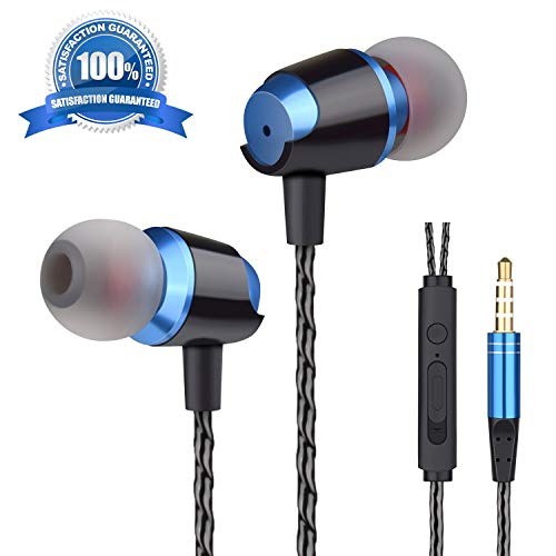 Ear Buds Earbuds Wired Earphones Headphones with Microphone Noise Cancelling Ear Phones Stereo in Ear Headphones Sports Earbuds with Mic and Volume Control Compatible iPhone Android iPad ()