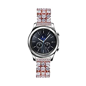 TRANSHARE Handmade Luxurious Classy Bling Rhinestone Diamonds Replacement Band for SAMSUNG Gear S3 Smart Watch (Rose Gold)