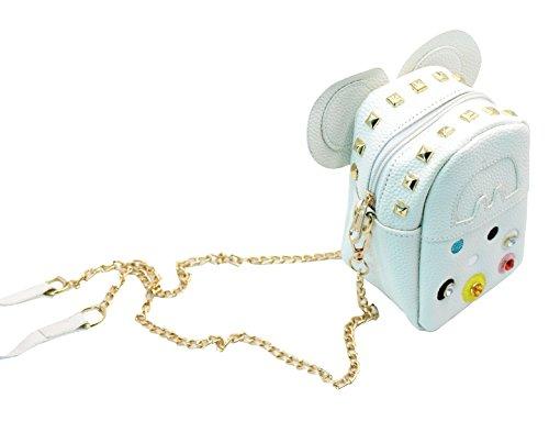 Niñas Cadena Teléfono Del Bolso Blancas Lindo Bolsa Para Hombro Crossbody De Remaches Mini Ratón Las Celular Monedero Mujeres wqacCUx4Yn