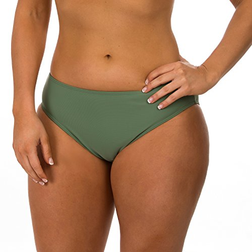 Olive Green Colour - H2OH Colours Swimwear The Full Cut High Waist Bottom Olive