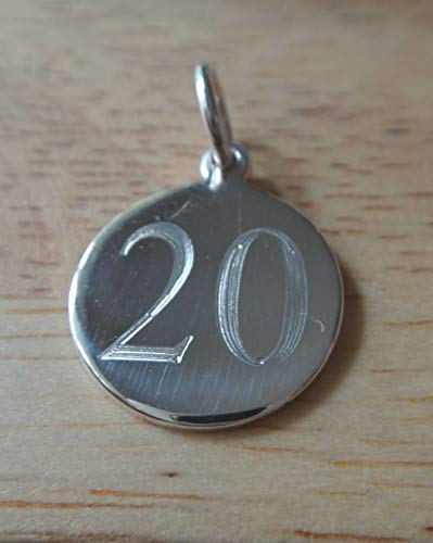 (Sterling Silver 15mm Number 20 Twentieth Birthday Anniversary Engraveable Charm Jewelry Making Supply, Pendant, Sterling Charm, Bracelet, Beads, DIY Crafting and Other by Wholesale Charms)