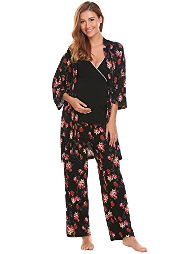 L'amore 3 Pcs Maternity Nursing Robe and Gown Pajamas Set for (Crossover Pajama Pants)