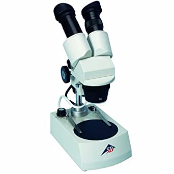 3B Scientific Binocular Stereo Microscope with Plastic Detachable Object Plate, 2x/4x Objective, 12V/10W Top and Transmitted Light Source, 20x/40x Magnification