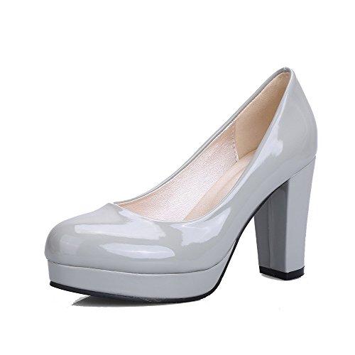 AllhqFashion Damen Hoher Absatz Blend-Materialien Rein Ziehen auf Rund Zehe Pumps Schuhe Grau