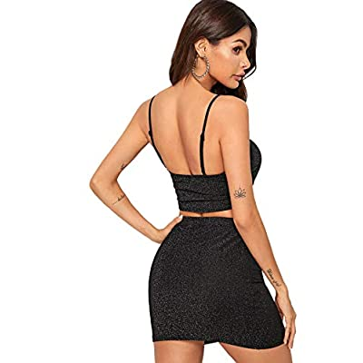 SheIn Women's Two Piece Outfit Sexy Stretchy Crop Cami Top Bodycon Skirt Set: Clothing