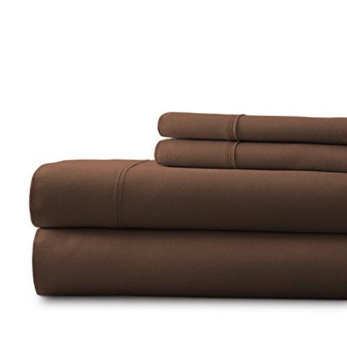 Spirit Linen 174-CHO Milano Solid Bed Sheet, King, Chocolate