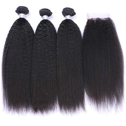 - IMAYLI 8A Kinky Straight Hair 3 Bundles with Closure Yaki Hair Human Hair Weave Bundles Brazilian Human Hair Kinky Straight Lace Closure with Baby Hair Free Part(16 18 20+14)
