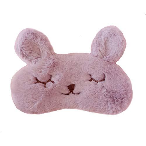 Cute Cartoon Plush Purple Rabbit Bunny Eye Mask Eye Shade For Sleeping Funny Sleeping Mask with Eyes Silk Kids Women
