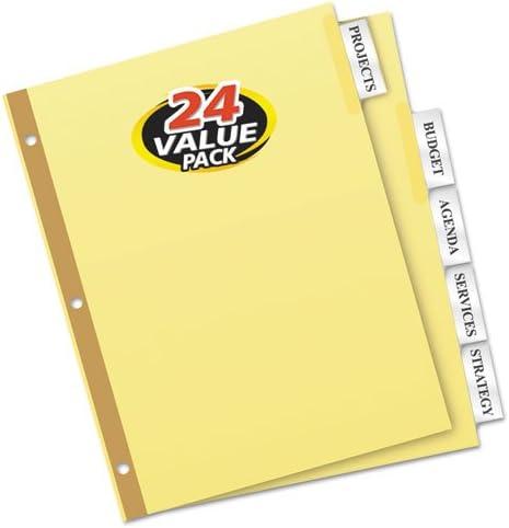 Avery 11113 Insert Divider Bulk Pk, 5 Tabs, 24 Sets/BX, Buff Stock/Clear