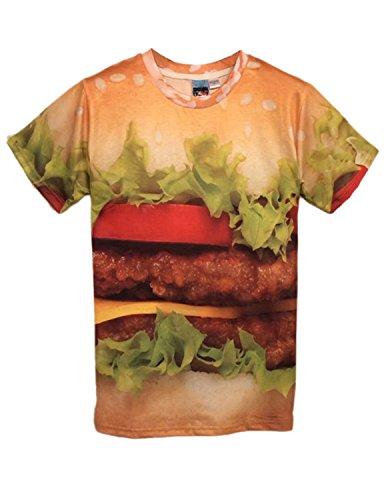 Pink Queen Pullover 3D Hamburger Print Yellow Short Sleeve T-Shirt T Shirt (S)