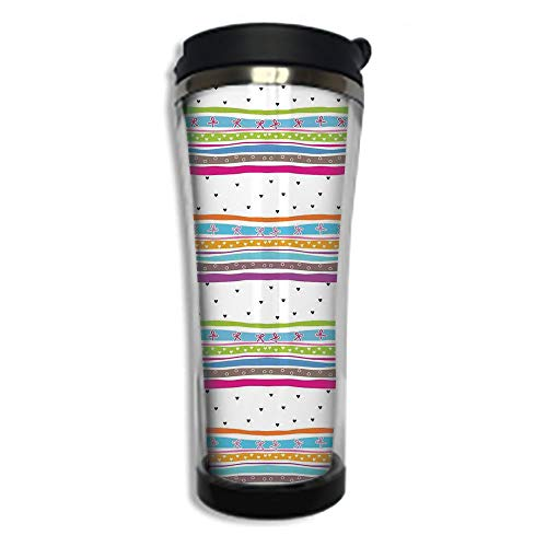 Travel Coffee Mug 3D Printed Portable Vacuum Cup,Insulated Tea Cup Water Bottle Tumblers for Drinking with Lid 14.2oz(420 ml)by,Striped,Abstract Wavy Stripes Polkadots Ribbons Bows and Hearts Girly Pa (Dot K Cafe Cups Polka)