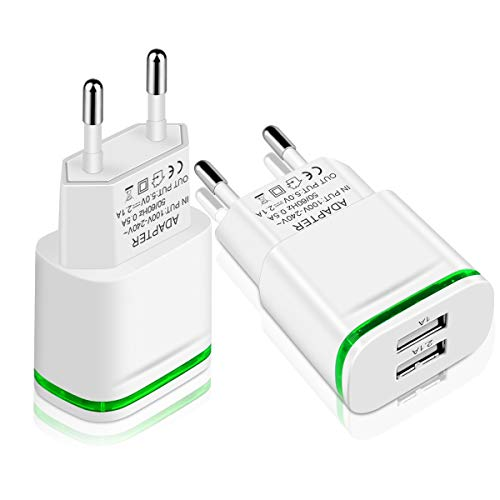 European Plug Adapter, Niluoya Travel Charger 2-Pack 2.1A/5V Europe Dual USB Wall Charger Power Adapter Compatible with iPhone X 8/7/6/6S Plus 5S, iPad, Samsung Galaxy S8/S7/S6 Edge, HTC, LG, Moto