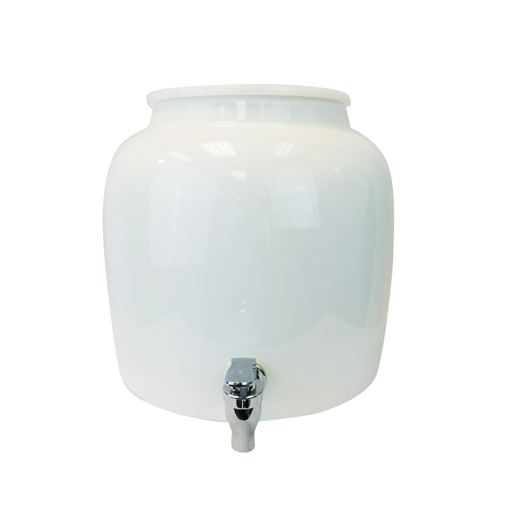 Porcelain Water Dispenser Crock - 2.5 Gallons - Comes with Ring Protector and White Spigot Faucet - Use With Water, Kombucha, Punch and More - Classic Plain White - Paint or Design On This Crock by For Your Water