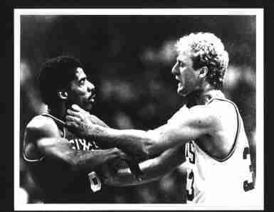 Photo of Larry Bird /& Julius Erving Fighting