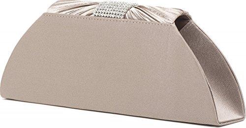 sacs cm en sacs PEREZ sacs x à la 5x11 avec et Pochette soirée aisselles à mode drap à chaîne 5x5 VINCENT satin avec de détachable cm couleur l strass taupe argent P bandoulière 25 120 H x XPwf8q