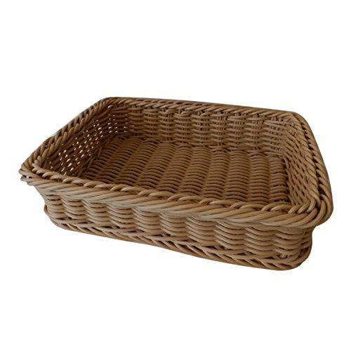 CVHOMEDECO. Rectangular Imitation Rattan Bread Basket Fruit Display Basket Food Serving Basket Resin Wicker Supermarket Showcase. Light Brown. 16