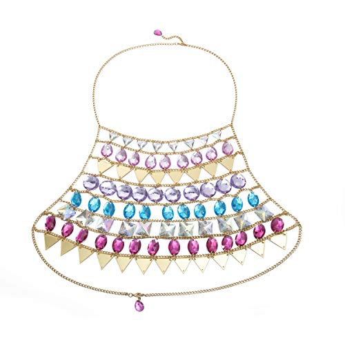 Salircon Sexy Rainbow Body Chain Plus Size Alloy Sequins Artificial Crystal Backless Tank Top Bra Festival Clothing Body Jewelry for Women Girls (1 PCS)