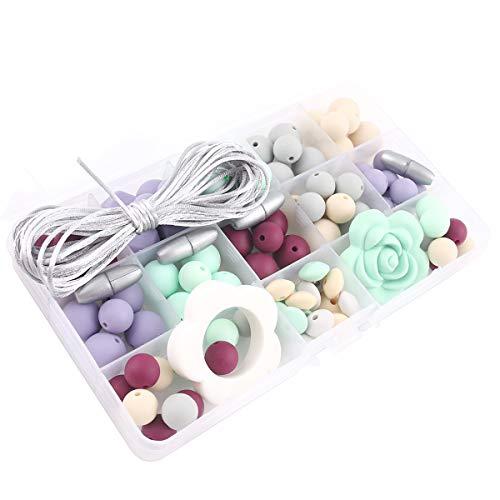 Promise Babe Silicone Teething Beads Set DIY Nursing Necklace Bracelet Organic Flower Pendant Teether Kit Box Baby Teether Toys Newborn Gifts ()