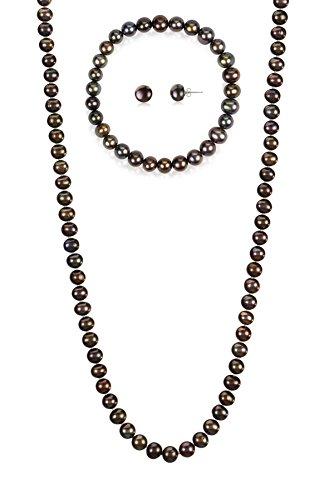 7-7.5mm Cultured Freshwatrer Pearl Necklace Bracelet and Earring Set in .925 Sterling Silver (Black)