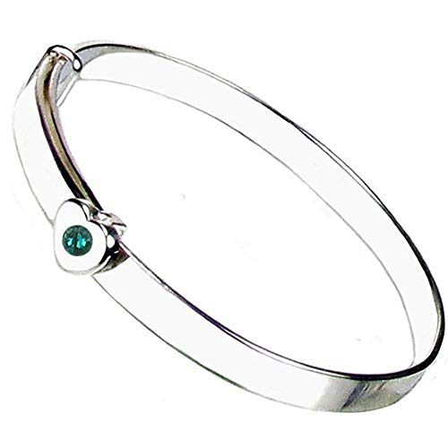 Christening Bangle - Sterling Silver - Emerald Crystal May Birthstone - Free Engraving – Gift Box with Personalized Ribbon - 12 Month Guarantee – Suitable for Girls and Boys