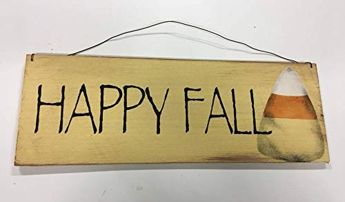 Happy Fall Candy Corn Halloween Decor Rustic Country Wooden Sign Wreath -