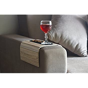 white sofa cover with wooden table | Amazon.com: Sofa Arm Table – Premium Handmade Wood Chair ...