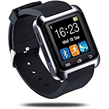 U80 Bluetooth Smart Watch Outdoor Sports Pedometer with Micphone Touch Screen for Android Phones Iphones (Black)