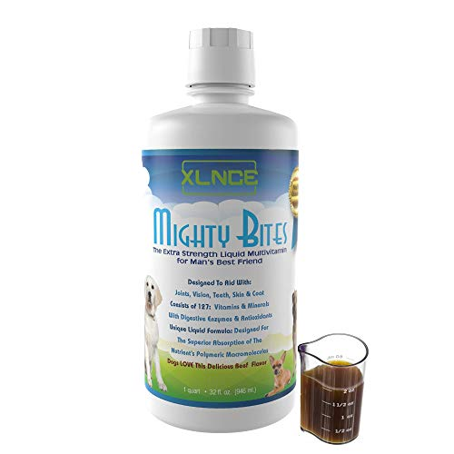 Mighty Bites Dog Vitamins: Pour the liquid supplement with glucosamine over dog food for pet joint care. The best multivitamin for senior dog hip & eye support. Digestive enzyme treatment. Up to 4/mo For Sale