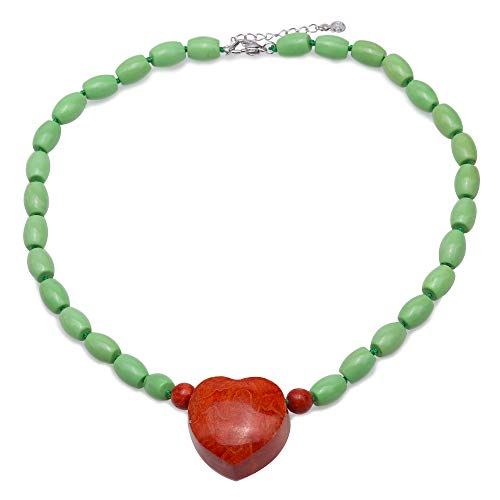 JYX Turquoise Necklace 9×12mm Green Oval Turquoise Beads dotted a Heart-shape Red 30×31mm Coral Pendant Single-strand Necklace AAA Handmade Gemstone