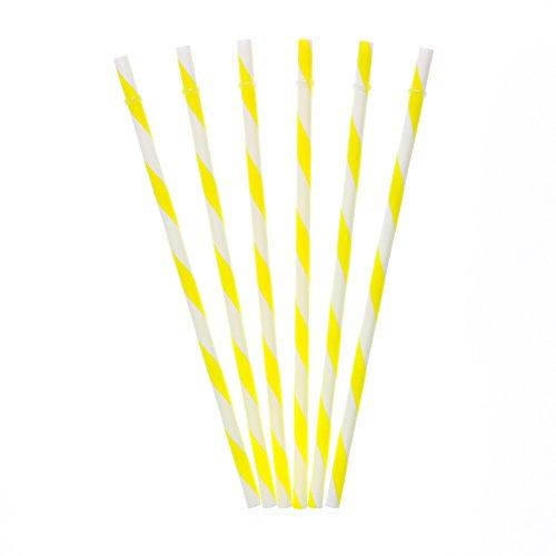 Dakoufish 12 Piece 9 Inch Reusable Plastic Thick Drinking Straws BPA Free Mason Jar Straws Big Stripe 10 Colors (yellow) (Mint Color Mason Jars compare prices)