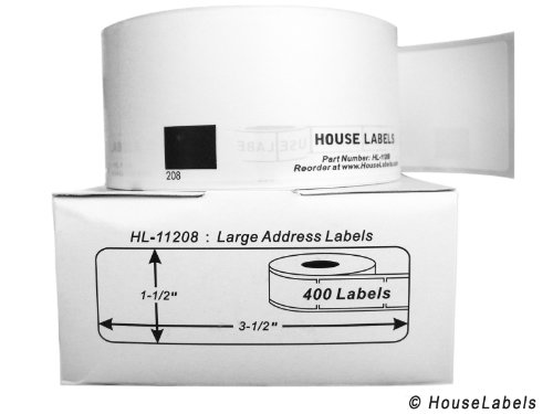 "36 Rolls; 400 Labels per Roll of BROTHER-Compatible DK-1208 Large Address Labels (1-1/2"" x 3-1/2""; 38mm90mm) -- BPA Free!"
