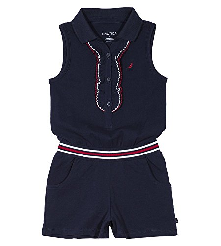 Nautica Little Girls' Fashion Romper, Picot Navy, 5 by Nautica