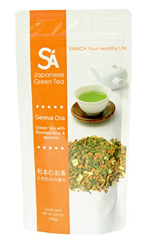 SA Japanese Green Tea Genmai Cha, Loose Leaf, 3.5-Ounce (Pack of 3)