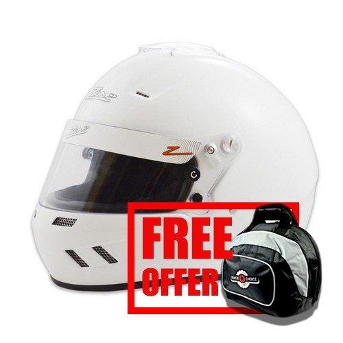 Zamp RZ-58 Snell SA2015 Helmet White Large - Free Deluxe Helmet Bag -