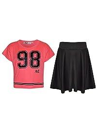 A2Z 4 Kids®®®® Girls Top Kids 98 Print Stylish Crop Top & Skater Skirt Set 7-13 Y