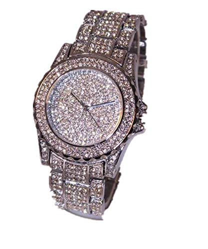LUCA Bling Fashion Round White Dial Pave Bezel Rhinestone Ceramic Crystal Quartz Watches Lady Dress ()