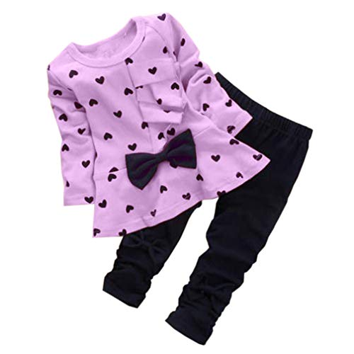 0-3 Years Kids Baby Girls Clothes Cute Heart-Shaped Print Bow Tops T...