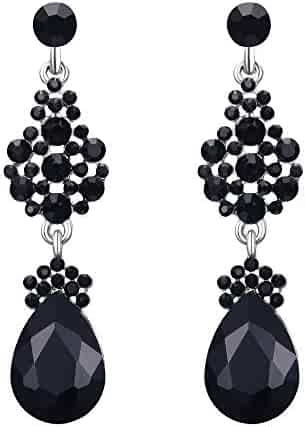 5b5cb6c25 EleQueen Austrian Crystal Elegant Teardrop Dangle Wedding Earrings For Women  Clear AB Silver-Tone