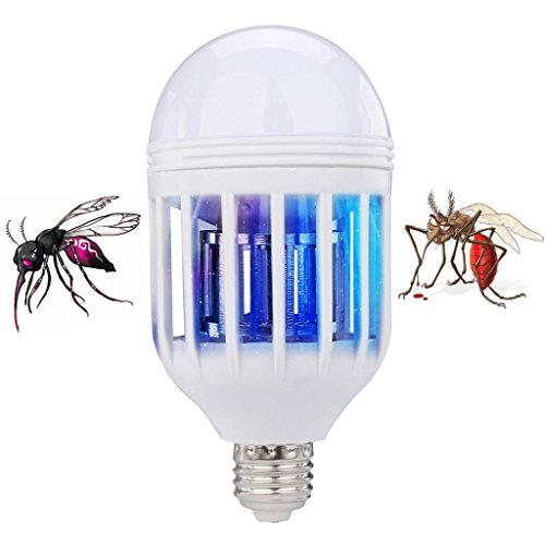 Iusun LED Anti-Mosquito Bulb Durable 15W 1000LM 6500K Electronic Insect Fly Lure Kill Bulb (White)