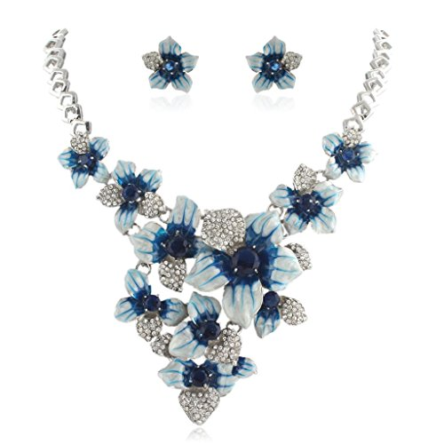 Necklace Tone Silver Clip - EVER FAITH Women's Austrian Crystal Blue Enamel Camellia Flower Necklace Earrings Set Silver-Tone