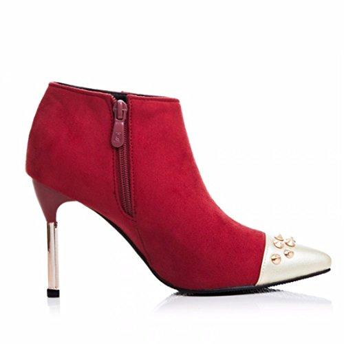 e otoño botas talla y de gules alto con de con Zapatos tacón mujer punta fina de RFF invierno Botas n71qXxY