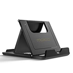 """MoKo Cell Phone Stand, Tablet Stand, Universal Foldable Multi-angle Desktop Holder for Smartphone, Tablet(6-11""""), iPhone 8/8 Plus/7/7 Plus, iPhone X, Galaxy Note 8, iPad 10.5, Nintendo Switch, Black"""