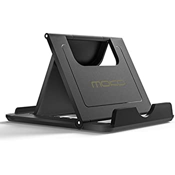 "MoKo Cell Phone Stand, Tablet Stand, Universal Foldable Multi-angle Desktop Holder for Smartphone, Tablet(6-11""), iPhone 8/8 Plus/7/7 Plus, iPhone X, Galaxy Note 8, iPad 10.5, Nintendo Switch, Black"