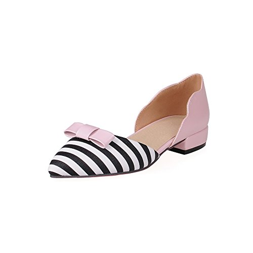 BalaMasa Two Shoes Flats Heels Pink Ladies Urethane Toned Square Bows ZqZnR7CPw