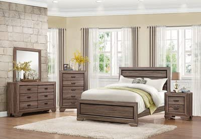 HEFX Furniture Bainbridge Casual 4 Piece California King Bedroom Set in Rustic Beechwood - Bed, Nightstand, Dresser Mirror