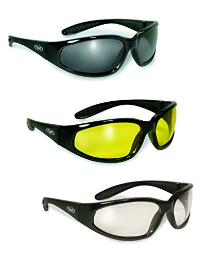 3 Pair Hercules Motorcycle Riding Glasses Smoke Yellow - Sunglasses 3 Pair