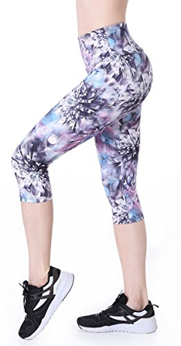 (Picotee Women's High Waist Tummy Control Yoga Pants Workout Capri Leggings w Hidden Pocket (Diamond Flower, S))