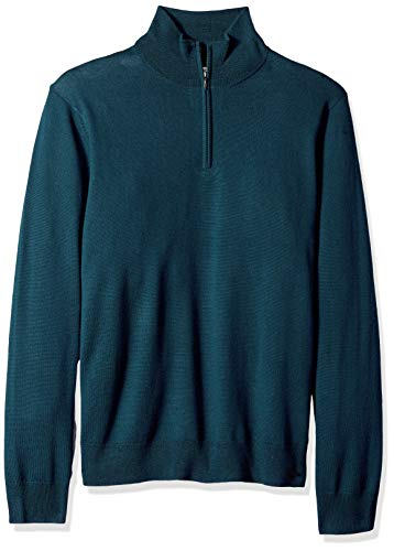 Goodthreads Men's Merino Wool Quarter Zip Sweater, deep Teal