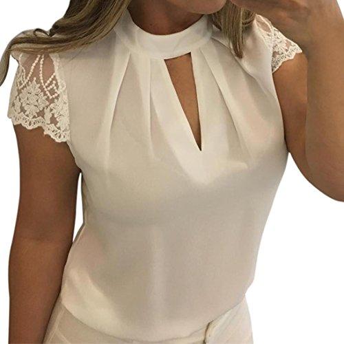 (TOTOD Women Casual Chiffon Blouse Short Sleeve Chiffon Splice Lace O-Neck Solid Crop Top Blouse (XL, White))