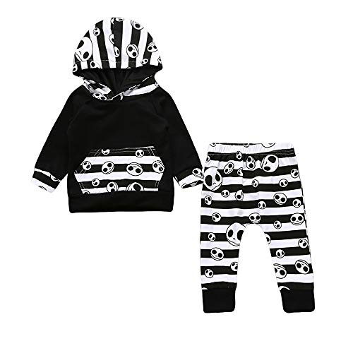 Clearance! Daoroka 2Pcs Halloween Costume Toddler Baby Boys Clothes Set Striped Tops Hoodie Pants Outfits